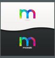 letter M logo alphabet mosaic icon set background vector image