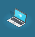 open laptop wi-fi connection flat and shadow theme vector image