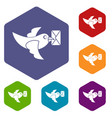 pigeon fly with mail icons set hexagon vector image