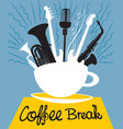 cup of coffee with different musical instruments vector image vector image