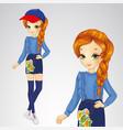 red-haired girl in denim skirt vector image
