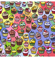 colorful cupcakes seamless background vector image vector image