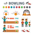 bowling infographic elements isolated on white vector image