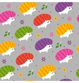 pattern with cartoon hedgehogs vector image