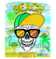 skull summer and beach vector image