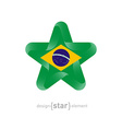 star with Brazil flag colors and symbols vector image