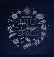 Flat deep space monogram blue vector