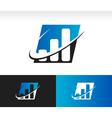 Swoosh Bar Chart Logo Icon vector image vector image