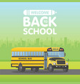 yellow schoolbus isolated on green background vector image
