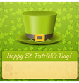 Patricks Day Card Green Hat vector image