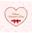 Paper heart with red ribbon and a bow isolated on vector image