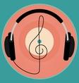 Black headphones vintage vinyl disc clef Retro vector image