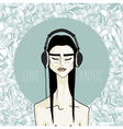asian girl with headphones vector image