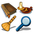 candlestick book magnifying glass and droom vector image