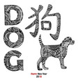 handdrawn dog text animal and chinese hieroglyph vector image