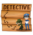 Detective and policeman working together vector image vector image