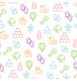 baby toys seamless pattern on white background vector image