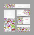 business cards design with citycsape sketch vector image