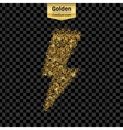 Gold glitter icon of bolt isolated on vector image
