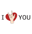 I love You hand sign with red heart vector image