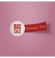 Realistic Valentines Day white Big Sale Label vector image