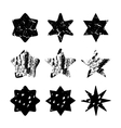 Set of black hand drawn isolated stars vector image