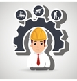 man construction tool gears vector image