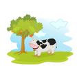 cow under tree vector image vector image