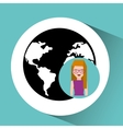 girl cute globe social media icon vector image