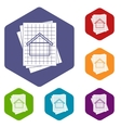 House blueprint icons set vector image vector image