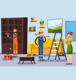 home renovation workmen flat poster vector image