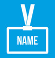 Plastic name badge with neck strap icon white vector image