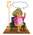 Woman in living room vector image vector image