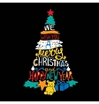 Typographic Christmas and New Year Tree Gifts vector image