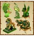Five various animal figurines made of malachite vector image