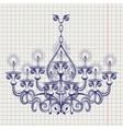 Antique gothic chandeliar sketch vector image