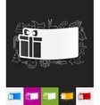 gift box paper sticker with hand drawn elements vector image