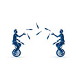 men juggling pins while cycling together vector image