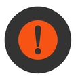 Problem flat orange and gray colors round button vector image