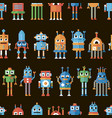 seamless pattern with pixel robots vector image