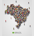 large group of people in form of brazil map vector image