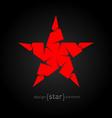 pseudo volume origami red star design element vector image