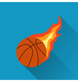 Basketball on fire flat design vector image vector image