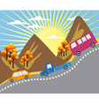 Cartoon mountain ride background vector image