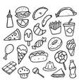 doodle food set vector image