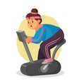 fat woman in gym female running on vector image