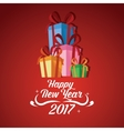 happy new year 2017 greeting card gift boxes vector image