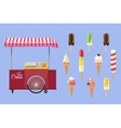 Set of ice-cream icons and ice-cream shopping cart vector image