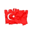 Turkish flag painted by brush hand paints Art vector image