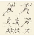 Set drawn running man healthy sketch vector image